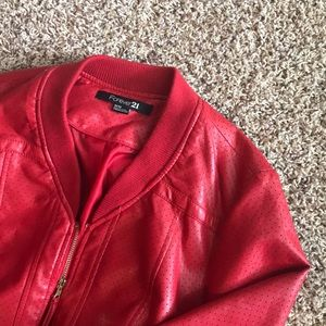 Red leather bomber jacket